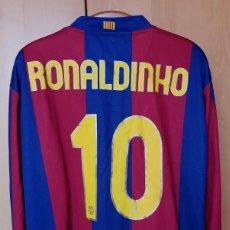 Coleccionismo deportivo: FC BARCELONA BARÇA 2007-08 CAMISETA MATCH UN WORN SHIRT HOME LS RONALDINHO #10 FIRMADA. Lote 183722755