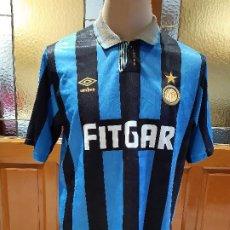 Coleccionismo deportivo: CAMISETA FUTBOL INTER DE MILAN 1991-1992. ORIGINAL UMBRO. SIN DORSAL. LEER DESCRIPCION.. Lote 196366355