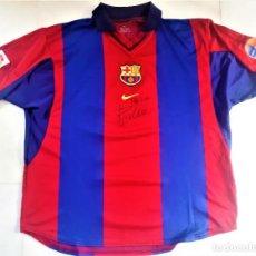 Coleccionismo deportivo: CAMISETA/SHIRT FC BARCELONA. NÚMERO/NUMBER 10. FIRMADA Y DEDICADA / DEDICATED BY POR RIVALDO. NIKE,. Lote 204196572