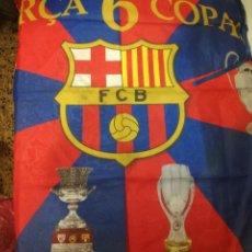 Collectionnisme sportif: FC BARCELONA FLAG 6 COPAS FOOTBALL BANDERA FLAG. Lote 206994900