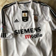Coleccionismo deportivo: CAMISETA REAL MADRID CHAMPIONS OFICIAL .NUEVA.FINAL COPA DEL REY 17 DE MARZO 2004. TALLA XL. Lote 218777130