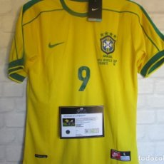 Coleccionismo deportivo: CAMISETA SELECCIÓN DE BRASIL DEL MUNDIAL FRANCIA 98 FIRMADA PERSONALMENTE POR RONALDO, COA. Lote 221602066