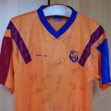 Collectionnisme sportif: FC BARCELONA BARÇA 1992-93 CAMISETA CONMEMORATIVA ORIGINAL FINAL WEMBLEY 92 FIRMADA DREAM TEAM. Lote 242476360
