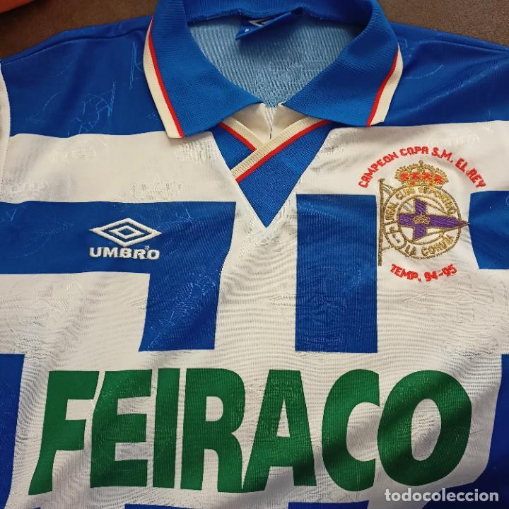 CAMISETA DEPORTIVO DE LA CORUÑA CAMPEÓN COPA DEL REY 1994-95 UMBRO FEIRACO TALLA M ESCUDO TEMP 94-95 (Coleccionismo Deportivo - Ropa y Complementos - Camisetas de Fútbol)