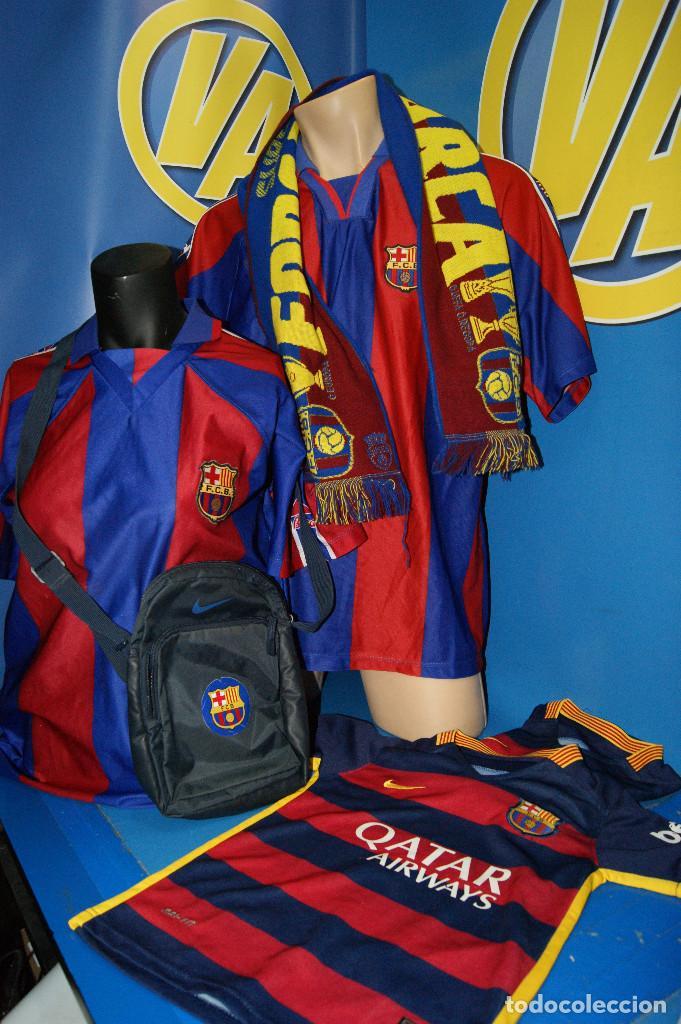 LOTE FCB: BOLSA NIKE, 2 CAMISETAS INFANTILES NIKE QATAR/UNICEF, BUFANDA, CAMISETA 14 JORDI ... (Coleccionismo Deportivo - Ropa y Complementos - Camisetas de Fútbol)
