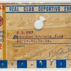 Coleccionismo deportivo: FUTBOL CARNET R.C.D.ESPAÑOL 1952-53. Lote 1217774