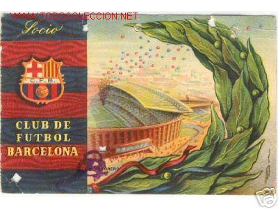 1958. BONITO CARNET DEL CLUB DE FUTBOL BARCELONA BARÇA 1 T (Coleccionismo Deportivo - Documentos de Deportes - Carnet de Socios)