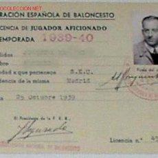 Coleccionismo deportivo: ANTIGUA LICENCIA CARNET 1939 DE LA FEDERACION ESPAÑOLA DE BALONCESTO. Lote 881272