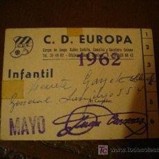 Coleccionismo deportivo: CARNET DEL CD.EUROPA.. Lote 26087657