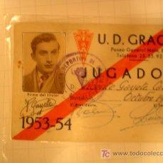 Coleccionismo deportivo: CARNET DE U.D.GRACIA.. Lote 27596659