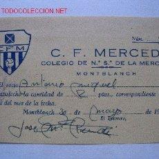 Coleccionismo deportivo: RECIBO CLUB FUTBOL MERCED 1956. Lote 27563447