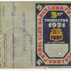 Coleccionismo deportivo: (5255-F)CARNET DE JUGADOR DE RUGBY ROSSINI VALMAJO F.C.BARCELONA TEMPORADA 1931 3ER.TRIMESTRE. Lote 13611740