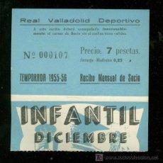 Coleccionismo deportivo: ENTRADA DE FUTBOL. REAL VALLADOLID DEPORTIVO. RECIBO MENSUAL DE SOCIO. INFANTIL. DICIEMBRE.. Lote 18432165