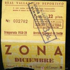 Coleccionismo deportivo: REAL VALLADOLID DEPORTIVO, TEMPORADA 1.958-59, RECIBO MENSUAL DE SOCIO. Lote 19381540