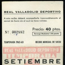 Coleccionismo deportivo: REAL VALLADOLID DEPORTIVO, TEMPORADA 1.962-63, RECIBO MENSUAL DE SOCIO. Lote 19381598