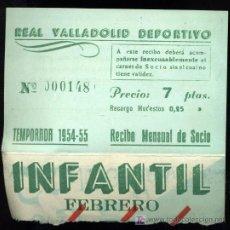 Coleccionismo deportivo: REAL VALLADOLID DEPORTIVO, TEMPORADA 1954-55, RECIBO MENSUAL DE SOCIO. Lote 19409950