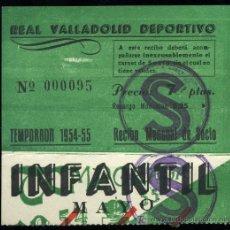 Coleccionismo deportivo: REAL VALLADOLID DEPORTIVO, TEMPORADA 1954-55, RECIBO MENSUAL DE SOCIO. Lote 19409964