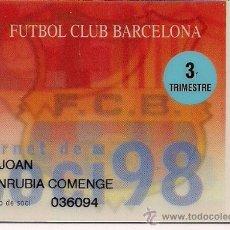 Coleccionismo deportivo: CARNET SOCIO FUTBOL CLUB BARCELONA AÑO 1998 3 TRIMESTRE . Lote 19828791