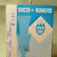 Coleccionismo deportivo: CARNET DE SOCIO DE NUMERO, 1963, VALENCIA CLUB DE FUTBOL. Lote 21814635