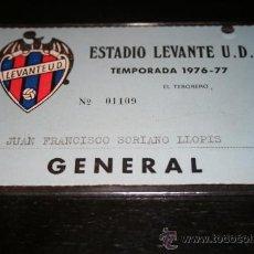 Coleccionismo deportivo: CARNET DE SOCIO DEL LEVANTE TEMPORADA 76-77. Lote 22017836