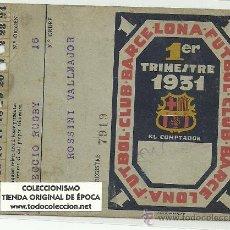 Coleccionismo deportivo: (F-04)CARNET 1ER.TRIMESTRE 1931 F.C.BARCELONA PERTENECIENTE A ROSSINI JUGADOR SECCION RUGBY. Lote 22680830