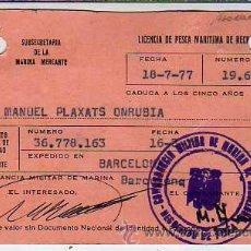 Coleccionismo deportivo: CARNET -LICENCIA DE PESCA DE LA MARINA MERCANTE 1977. Lote 23804095