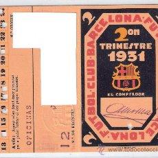 Coleccionismo deportivo: F.C. BARCELONA- 2º TRIMESTRE DE 1931- CARNET DE SOCIO 1931- (BARSA-3). Lote 25930822