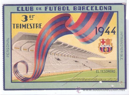 C.F. BARCELONA - 3º TRIMESTRE DE 1944- CARNET DE SOCIO 1944- (BARSA-14) (Coleccionismo Deportivo - Documentos de Deportes - Carnet de Socios)