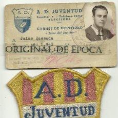 Coleccionismo deportivo: (58-F)CARNET DE IDENTIDAD A.D.JUVENTUD Y ESCUDO DE LA EPOCA SECCION RUGBY AÑOS 40. Lote 27955227