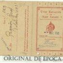 Coleccionismo deportivo: (F-167B)CARNET DE SOCIO FUTBOL UNIO ESPORTIVA SANT ANDREU MES MARZO 1930. Lote 28539658