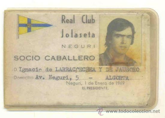 2 - CARNET DE FUTBOL 1969 Y 1975 .. REAL CLUB JOLASETA – NEGURI (Coleccionismo Deportivo - Documentos de Deportes - Carnet de Socios)