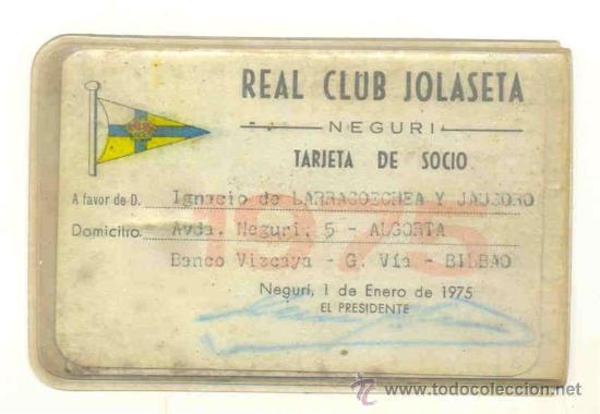 Coleccionismo deportivo: 2 - Carnet de futbol 1969 y 1975 .. Real club Jolaseta – Neguri - Foto 2 - 29162357