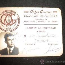 Coleccionismo deportivo: CARNET ORFEO CATALA GRACIENC,SECCION DEPORTIVA ADHERIDA FEDERACION CATALANA DE FUTBOL 1955.. Lote 29630082