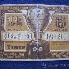 Coleccionismo deportivo: CARNET SOCIO Nº 18 C.F. BARCELONA, PRIMER TRIMESTRE 1946. Lote 30118131