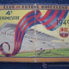 Coleccionismo deportivo: CARNET SOCIO Nº 18 C.F. BARCELONA1949 - CUARTO TRIMESTRE- RARO EJEMPLAR ANULADO CON 7 MARCAJES . Lote 30118176