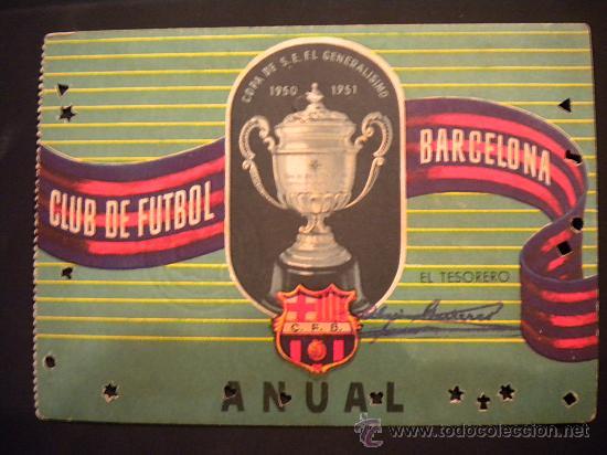 CARNET DE SOCIO DEL CLUB DE FUTBOL BARCELONA 1952. (Coleccionismo Deportivo - Documentos de Deportes - Carnet de Socios)