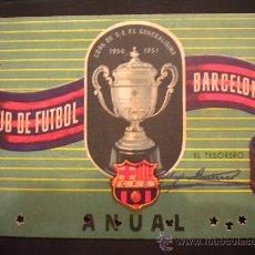 Coleccionismo deportivo: CARNET DE SOCIO DEL CLUB DE FUTBOL BARCELONA 1952.. Lote 53513838