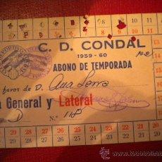 Coleccionismo deportivo: CARNET DE SOCIO CLUB DEPORTIVO CONDAL 1959-1960.. Lote 31943246