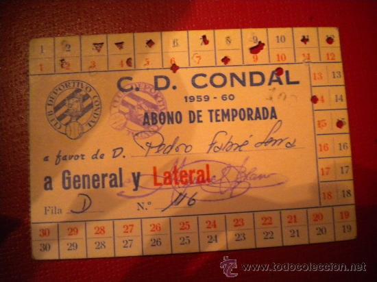 CARNET DE SOCIO CLUB DEPORTIVO CONDAL 1959-1960. (Coleccionismo Deportivo - Documentos de Deportes - Carnet de Socios)