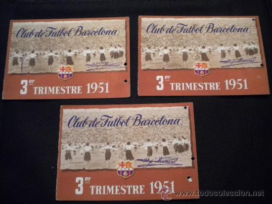 TRES CARNETS DE SOCIO DEL CLUB DE FUTBOL BARCELONA1951 (3º TRIMESTRE) (Coleccionismo Deportivo - Documentos de Deportes - Carnet de Socios)