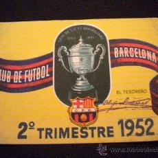 Coleccionismo deportivo: CARNET DE SOCIO DEL CLUB DE FUTBOL BARCELONA 1952 (2º TRIMESTRE). Lote 297275283