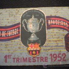 Coleccionismo deportivo: CARNET DE SOCIO DEL CLUB DE FUTBOL BARCELONA 1952 (1º TRIMESTRE). Lote 32025693