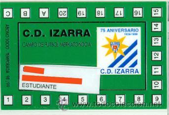 FUTBOL - CARNET DE SOCIO C. D. IZARRA - TEMPORADA 1998-99 – (Coleccionismo Deportivo - Documentos de Deportes - Carnet de Socios)