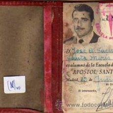 Coleccionismo deportivo: CARNET ALUMNO DE LA ESCUELA DE DEPORTES APOSTOL SANTIAGO. 1956. MADRID.. Lote 32407695