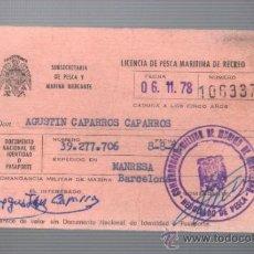 Coleccionismo deportivo: CARNET LICENCIA DE PESCA MARITIMA DE RECREO TERCERA CLASE AÑOS 74. Lote 32813522