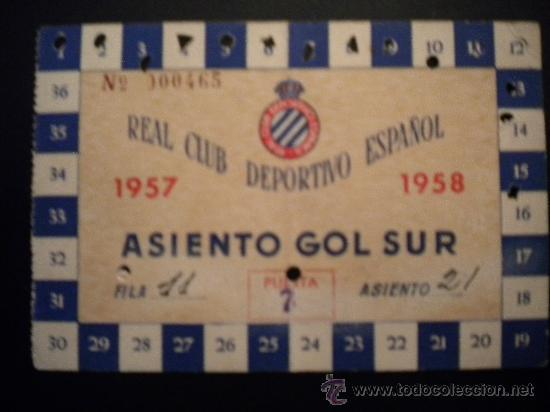 CARNET DEL REAL CLUB DEPOTIVO ESPAÑOL 1957-1958. (Coleccionismo Deportivo - Documentos de Deportes - Carnet de Socios)