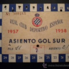 Coleccionismo deportivo: CARNET DEL REAL CLUB DEPOTIVO ESPAÑOL 1957-1958.. Lote 34039922