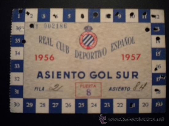 CARNET DEL REAL CLUB DEPORTIVO ESPAÑOL 1956-1957. (Coleccionismo Deportivo - Documentos de Deportes - Carnet de Socios)