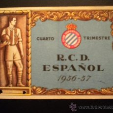 Coleccionismo deportivo: CARNET DEL REAL CLUB DEPORTIVO ESPAÑOL 1956-1957.CUARTO TRIMESTRE.. Lote 34040371