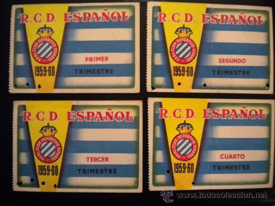 LOTE DE CARNET DEL REAL CLUB DEPORTIVO ESPAÑOL 1959-1960.COMPLETO. (Coleccionismo Deportivo - Documentos de Deportes - Carnet de Socios)